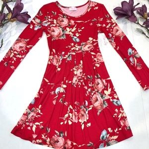 NWT Pink Lily Dress Long Sleeve Mini Floral